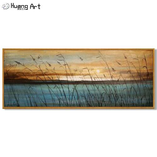Handmade Lakeside Landscape Wall Decor Oil Painting Hand Painted Modern Blue Sea Art Sunset Seascape Oil Painting on Canvas