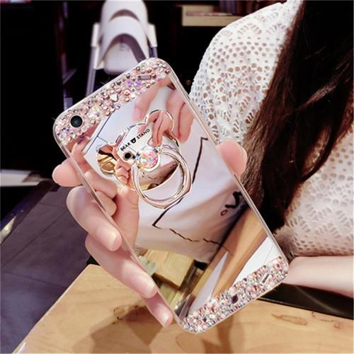 Diamond Soft Mirror Finger Ring Holder Case Cover for VIVO X23 Y81 X21i Y83 Y71 Y85 V9 V7 Plus Y79 Glitter Bling Rhinestone