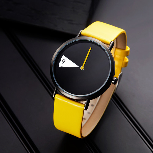 Sinobi Women Watch Creative Wristwatch Lady Clock Rotate Yellow Leather Band Wristwatches Clock Montres Femme Reloj Mujer