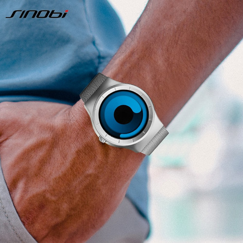 SINOBI Brand Creative Sports Quartz Watch Men Stainless Steel Strap Time Hours Mens Watches Rotation Clock Relogio Masculino