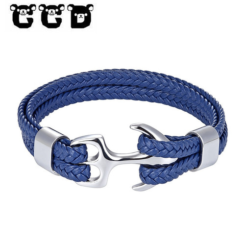 NEW Fashion Multilayer Leather Bracelet Men Fashion Braided Handmade Star Rope Wrap Anchor Bracelets & Bangles Male Gift Pulsera