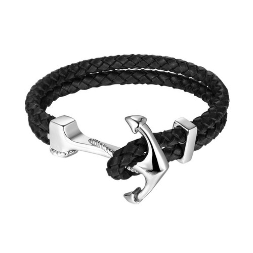 High Quality Stainless Steel Genuine Leather Bracelets & Bangles Fashion Vintage Anchor Bracelet For Men Women Sport Hook Male