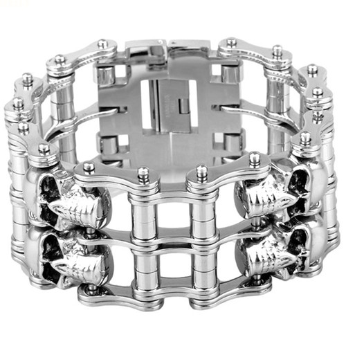 Mens Gothic Silver Stainless Steel Skull Two Row Motor Biker Huge Wide Bracelet 38mm9in