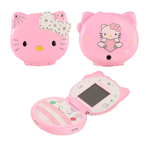 Flip Lovely Cute Mini Cartoon Mobile Phone Hello Kitty cellphone For Kids Girls Dialer Vibration Low Radiation
