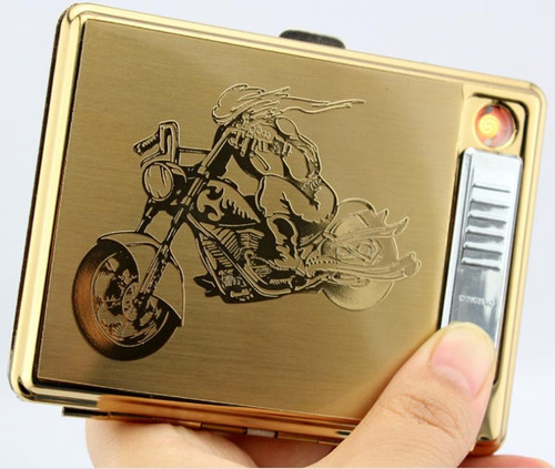 USB lighter cigarette case for 20 cigarettes pack
