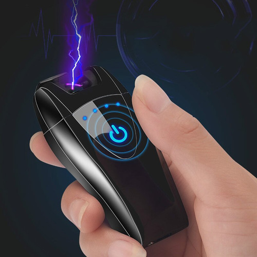 New fingerprint touch induction electronic lighter USB charging double arc cigarette lighter gadgets for men usb gift