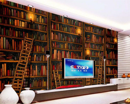 Beibehang Custom Wallpaper Living Room Bedroom Mural 3D mural Decorative 3d Wallpaper Book Bookshelf Bookcase Background Wall