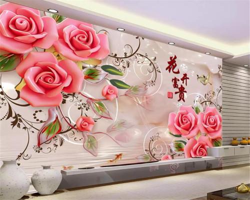 beibehang Custom Mural Wallpaper For Bedroom Wall 3D Luxury Rose goldfish pattern Background 3d wallpaper Home Decor Living Room