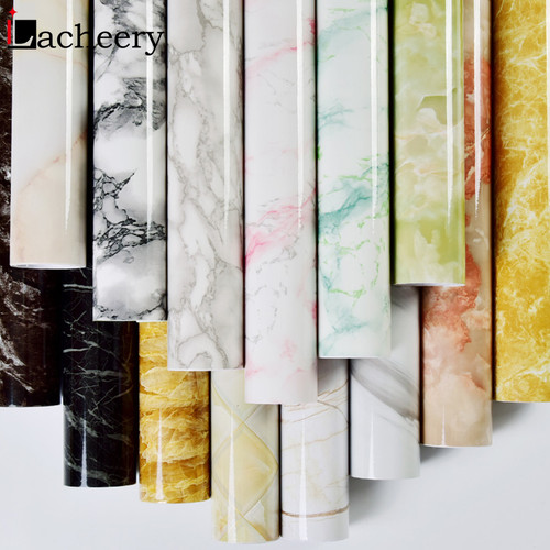 Modern Simple Marble Wallpaper PVC Waterproof Bathroom Wall Decor Kitchen Countertop Stickers Vinyl Self Adhesive Contact Paper