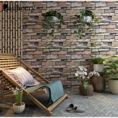 PVC Waterproof Living Room Wall Decor 3d Brick Stone Wallpaper Roll for Vintage Bedroom Kitchen Vinyl Self Adhesive Wall Sticker