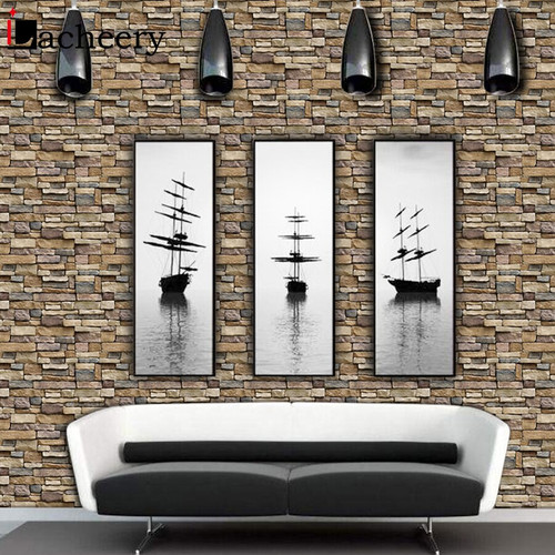 PVC Waterproof Living Room Wall Decor 3d Brick Stone Wallpaper Roll for Vintage Bedroom Kitchen Vinyl Self Adhesive Wall Sticker