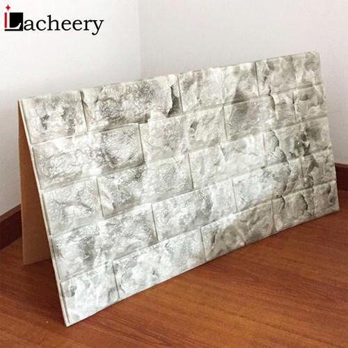 Waterproof 3D PE Foam Wall Panel Self Adhesive Brick Wallpaper Living Room TV Background Decals Embossed Decoration Wall Sticker