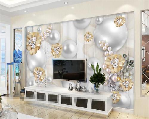 Beibehang Custom wallpapers 3D luxury pearl flowers background wallpaper living room bedroom murals wallpaper for walls 3 d