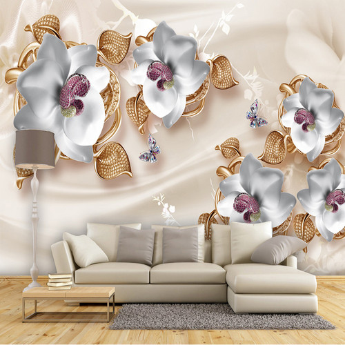 Custom Mural Wallpaper 3D Stereo Flowers Jewelry Photo Wall Painting Living Room Bedroom Luxury Home Decor Wall Paper For Walls