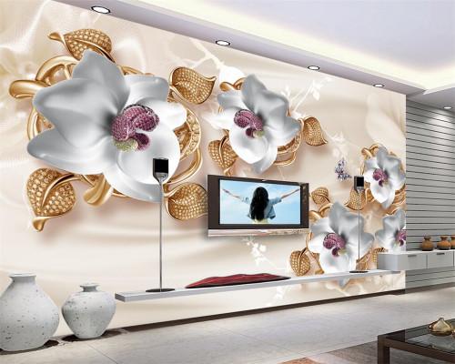 Beibehang Custom Wallpaper Large Luxury 3D Jewelry Flower 3D Wallpaper Living Room Bedroom TV Mural wallpaper for walls 3 d