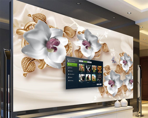 Beibehang Custom Wallpaper Large Luxury 3D Jewelry Flower 3D Wallpaper Living Room Bedroom TV  Mural wallpaper for walls 3 d