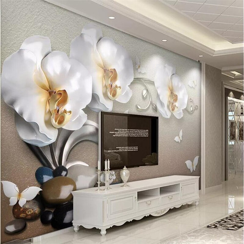 beibehang Wallpaper custom living room bedroom wallpaper mural 3d luxury gold jewelry Phalaenopsis TV background wall
