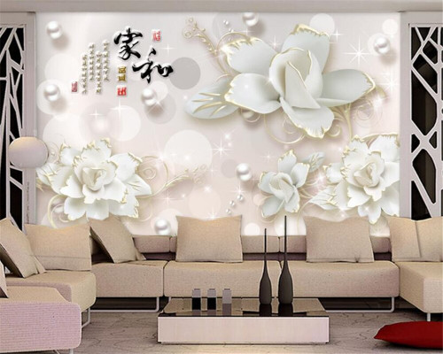 Beibehang Custom wallpaper 3d luxury white flowers jewelry background wall living room bedroom TV background mural 3d wallpape
