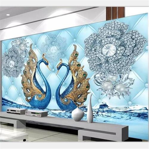 beibehang Wallpaper custom living room bedroom mural luxury 3d swan diamond flower water pattern jewelry TV background Wall