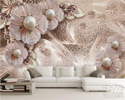 Beibehang Custom wallpaper beautiful luxury jewelry flower bedroom bedroom living room TV wall 3d wallpaper Decoration mural