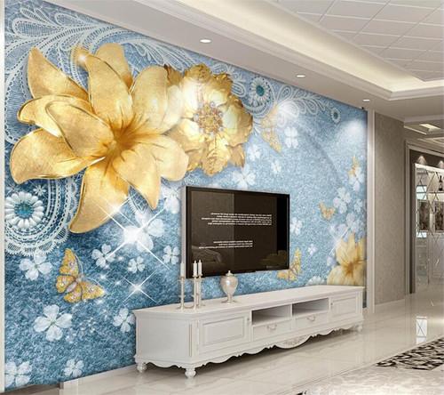 Beibehang Custom wallpaper 3d luxury gold jewelry flowers Mediterranean European living room bedroom TV wall mural 3d wallpaper