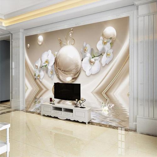 beibehang 3D wall paper murals custom living room bedroom home decoration 3D luxury pearl orchid water silk murals wallpaper