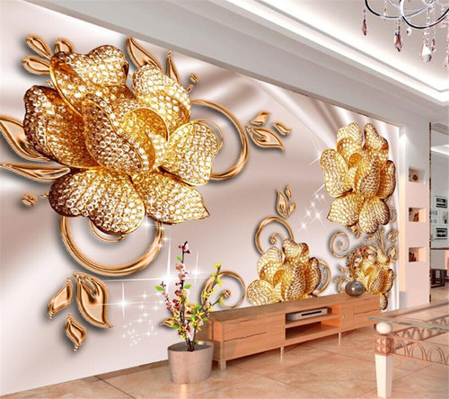 Beibehang Custom Wallpaper European Luxury Jewelry Roses Background Walls Living Room Bedroom TV Background Mural 3D wallpaper