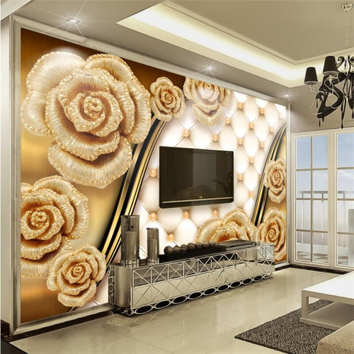 beibehang Custom wallpaper 3d luxury gold roses soft bag jewelry murals sofa TV living room bedroom background wall