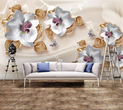 beibehang Custom wallpaper luxury 3D photo mural jewelry flower TV background wall living room bedroom wallpaper papel de parede