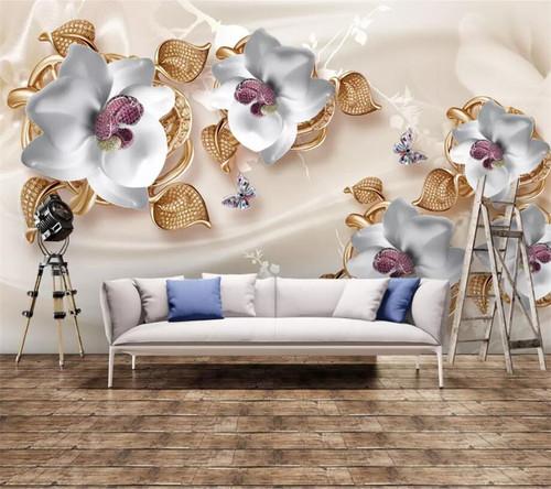 beibehang Custom wallpaper luxury 3D photo mural jewelry flower TV background wall living room bedroom wallpaper papel de parede
