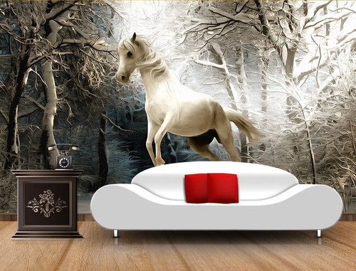 Custom 3D horse wallpaper, the winter forest murals for Pegasus bedroom TV background wall waterproof wallpaper