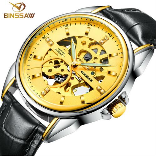 BINSSAW / 2017 stainless steel watch original luxury top brand new men skeleton automatic mechanical watches Relogio Masculino