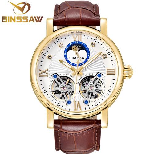 BINSSAW Manner Automatische Mechanische Stahl Doppel Tourbillon Luxus Leder Uhr Mode-Business Sport Uhren Relogio Masculino