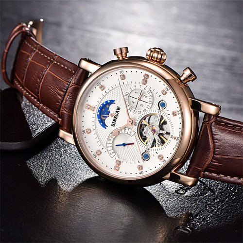 BINSSAW Men Tourbillon Luxury Fashion Casual Brand Leather Sport Automatic Mechanical Watch Kid Women Mens Smart Set Watches