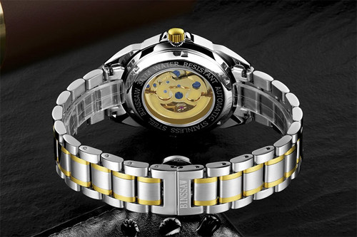 BINSSAW 2018 Gold Watches Men Luxury Top Brand Stainless Steel Fashion Skeleton Automatic Mechanical Relogio Masculino
