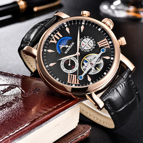 BINSSAW 2018 New Mens Automatic Mechanical Tourbillon Watch Fashion Leather Brand Moon Phase Sports Watches Relogio Masculino