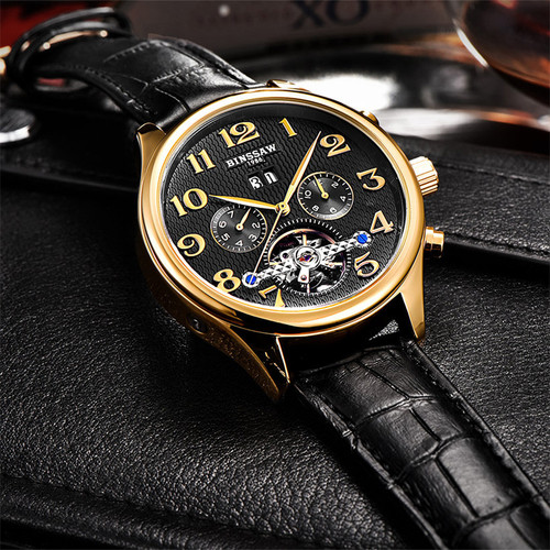 BINSSAW Mens Luxury Brand Automatic Mechanical Watches Sports Tourbillon Genuine Leather Fashion WristWatch Relogio Masculino