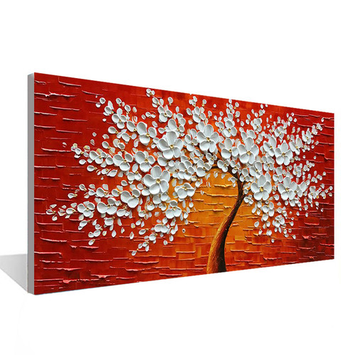 Red lucky tree 100% hand painted oil painting modern home living room decorative wall art painting