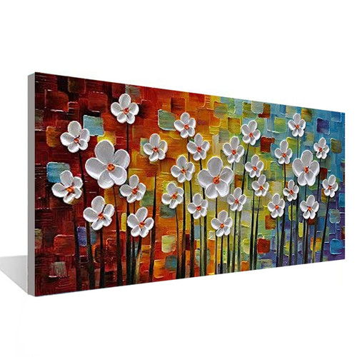 Hundred Flowers Together 3D Canvas Painting Wall Art Living Room Bedroom Restaurant Interior Hand Painted Oil Painting