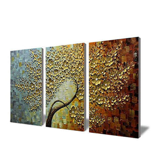 Golden Fortune Tree Hand-painted oil painting thick texture to the living room dining room bedroom wall decoration painting