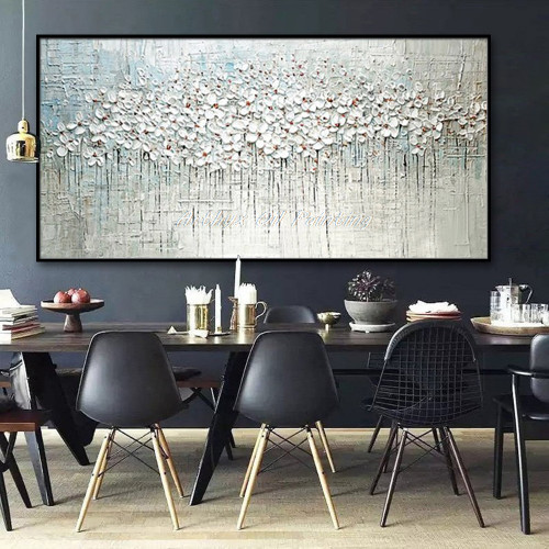 Arthyx Pop Art Hand Painted Thick Palette Knife Flower Oil Painting on Canvas Abstract Wall Painting Living Room Home Wall Decor