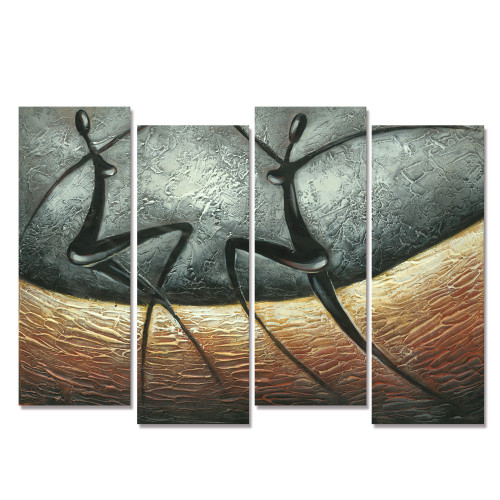 HD Abstract Canvas Painting Wall Art 4 PCS/set Dance Lover Figure Oil Painting Printed on Canvas 30cmx80cmx4 Modern Home Deco