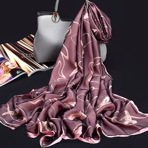 100% Pure Silk Scarf Ladies Luxury Brand 2019 Hangzhou Silk Shawls and Wraps for Women Print Long Natural Real Silk Scarves