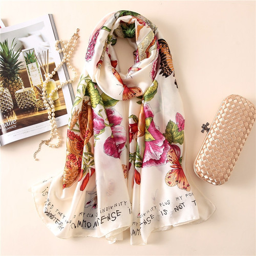 Soft 100% Natural Silk Scarf Women Luxury Brand Print Butterfly on Floral Pashmina Shawl Femme Long Bandana Bufanda Foulard New