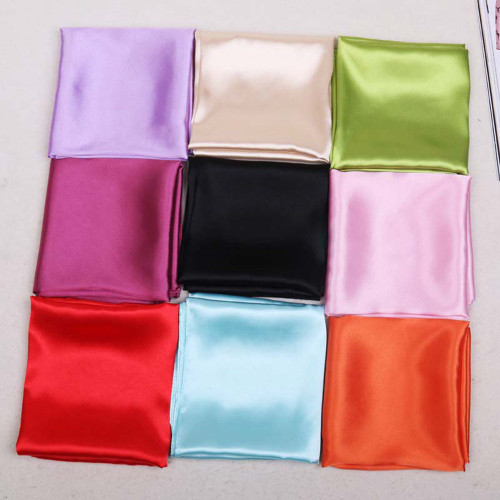 New Solid Silk Scarf Women Square Hair Tie Band Lady Elegant Small Vintage Skinny Scarf Winter Head Neck Satin Scarf 58*58cm