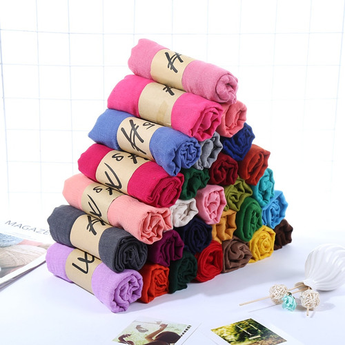 New Ladies Cotton Linen Scarf Winter Women Scarves Summer Beach Shawl Plus Size 180*90cm Solid Candy Colored Pashmina Femme