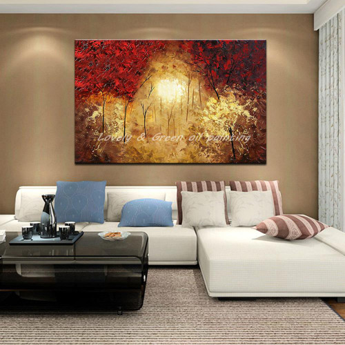 100% Hand Painted Modern Abstract Landscape Tree Oil Painting On Canvas Wall Art For Living Room Home Decoration Picture Gift