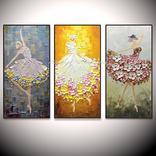 Large Lovely Ballet Dancer Hand Painted Modern Abstract Palette Knife Oil Painting On Canvas Wall Art For Living Room Home Deco