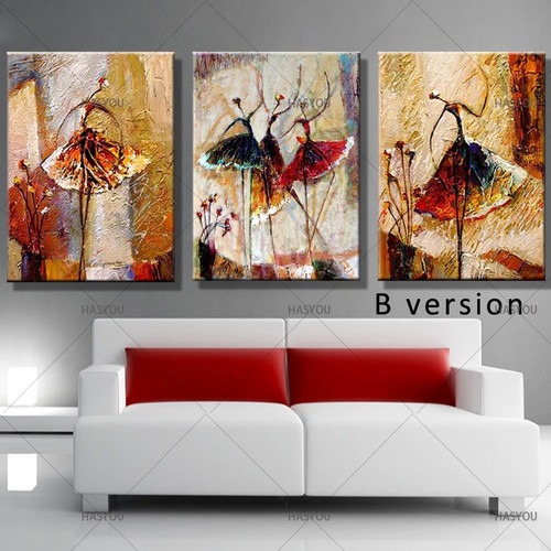 Hand Painted Canvas Oil Painting 3 Panel Set Modern Abstract Dancing Girl Home Decoration Wall Art Picture For Living Room