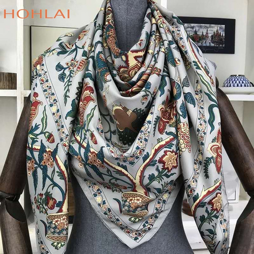 100% Twill Silk Scarf Women Large Shawls Floral Print Stoles Square Bandana Luxury Brand Kerchief Scarves Female Foulard 130*130